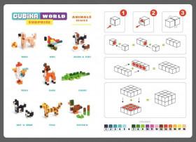 Set de constructii 64 piese, World Animal Series, Joc Din Lemn, Cubika