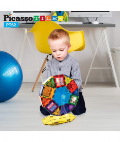 Set PicassoTiles Roată De Parc De Distracții - 62 Piese Magnetice De Construcție Colorate