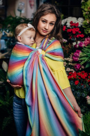 Sling cu inele Lenny Lamb -LITTLE HERRINGBONE RAINBOW LIGHT(82%bumbac+18%bambus)