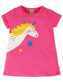 Tricou din bumbac organic - Flamingo/Unicorn, Frugi