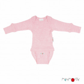 Body/Bluza (2 in 1) ManyMonths lână merinos - Stork Pink
