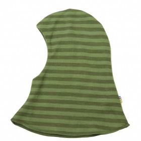 Cagulă dublată reversibilă din lână merinos Joha - Green Stripe