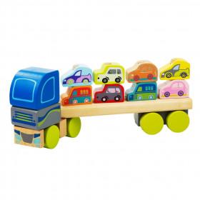 Camion pentru masini 12 piese, Jucarie din lemn, Cubika