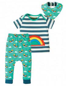 Compleu tricou+colanti+bavetica din bumbac organic - Steely Blue Stripe/Rainbow, Frugi