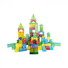 Cuburi constructie din lemn cu modele (100 buc.)