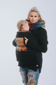 Hanorac pentru babywearing Lenny lamb - BLACK/SYMPHONY RAINBOW DARK