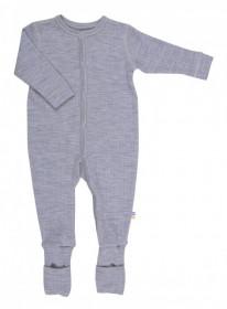 Overall/Pijama lână merinos cu/fara sosete Joha - Basic Grey