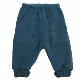 Pantaloni Joha lână merinos fleece - Petrol Blue