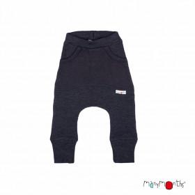 Pantaloni ManyMonths Kangaroo lână merinos - Foggy Black