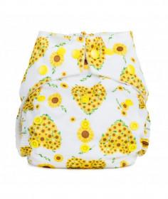Scutec textil refolosibil cu buzunar Baba+Boo Sunflowers