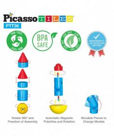 Set PicassoTiles Avion - 36 blocuri magnetice de construcție colorate