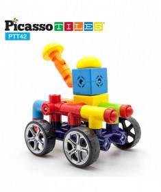Set PicassoTiles Mașină - 42 blocuri magnetice de construcție colorate