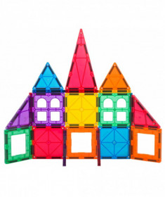 Set Playmags Junior: 32 piese magnetice de construcție + 6 clickins ABC