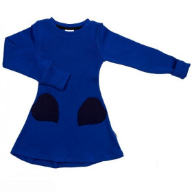 Rochie ManyMonths Unique Heart Pockets lână merinos - Jewel Blue