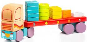 Camion cu forme geometrice 19 piese, Jucarie din lemn, Cubika