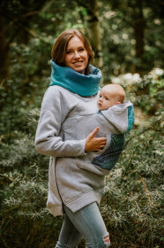 Hanorac pentru babywearing Lennylamb - Grey Melange with Peacock's Tail Fantasy