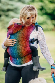 Marsupiu Ergonomic,Lenny Lamb Baby Size, BIG LOVE RAINBOW DARK Full Wrap Conversion