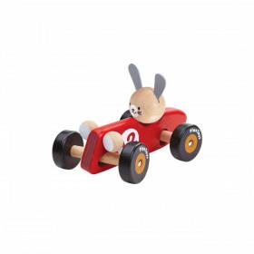 Mașinuță de curse din lemn, model iepuras, Plan Toys