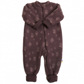 Overall Joha din lana merinos fleece, cu manusi si botosei - Footprint Purple