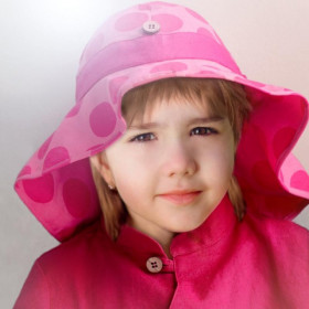 Palarie ManyMonths Unique Light cânepă si bumbac organic - Big Dots Pink