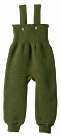 Pantaloni cu bretele lână merinos Disana - Olive