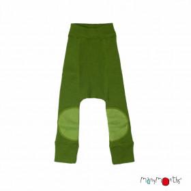 Pantaloni dublati Manymonths Patches lână merinos - Garden Moss Green