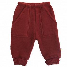 Pantaloni Joha lână merinos fleece - Crimson Red