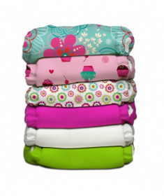 Set 6 scutece textile Charlie Banana - inserturi noi cu fleece , Flower Power (Transport Gratuit)