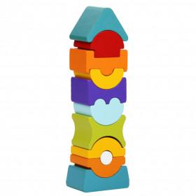 Set constructii 11 piese, Turn - Jucarie din lemn, Cubika