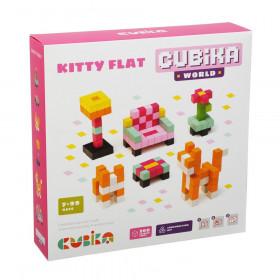 Set de constructii 200 piese, World Kitty Flat, Joc Din Lemn, Cubika