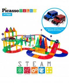 Set PicassoTiles Pistă de curse - 80 piese magnetice de construcție colorate - conține 2 mașini cu LED-uri