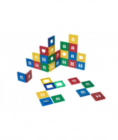 Set Playmags Exclusiv Ferestre - 60 Piese Magnetice: 30 Ferestre + 30 Accesorii
