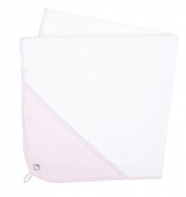 Set: Prosop din bumbac + manusa pentru spalat - Basic Pink