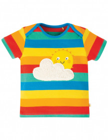 Tricou din bumbac organic -Rainbow Multi Stripe/Sun, Frugi