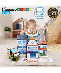 Set Picasso Tiles 3 in 1 cu 150 de piese - Scoala/Spital/Statie de Politie