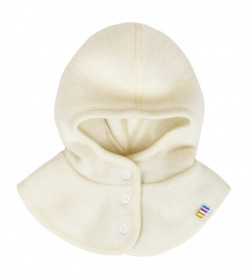 Cagulă Joha windbreaker fleece lână merinos - White