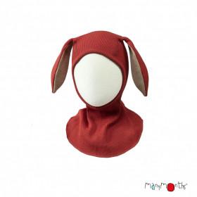 Cagula ManyMonths Bunny Ears lână merinos - Rooibos Red