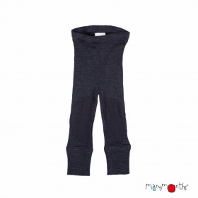 Colanți lână merinos Manymonths cu protecții genunchi - Patches Foggy Black
