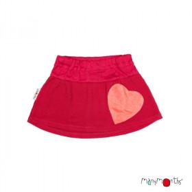Fusta ManyMonths Heart Pocket lână merinos - Cranberry Nectar