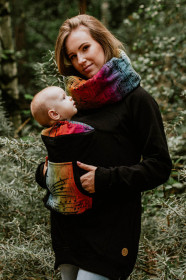 Hanorac pentru babywearing Lennylamb -Black/Symphony Rainbow Dark