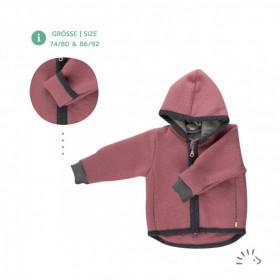 Jachetă lână fiartă cu fermoar si buzunare Iobio - Milo Rosa