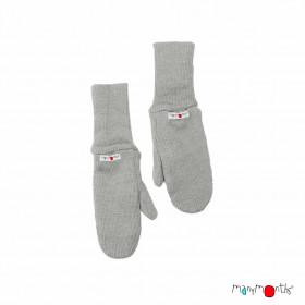 Mănuși dublate din lână merinos ManyMonths - Platinum Grey