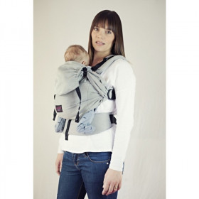Marsupiu SSC Emeibaby, Baby Size - Full Gray (bumbac organic) (+ CADOU Colier multifunctional din silicon)