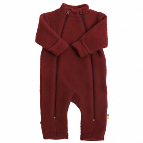 Overall Joha din lana merinos fleece, cu manusi si botosei - Crimson Red