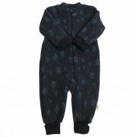 Overall Joha din lana merinos fleece, cu manusi si botosei - Footprint Navy