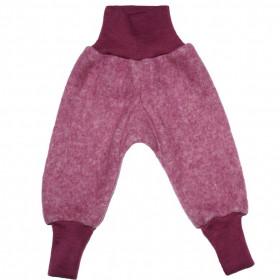 Pantaloni Cosilana lână merinos fleece si bumbac - Wine Red