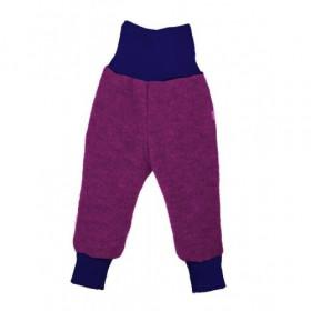 Pantaloni lână merinos organică - tumble/boiled wool, Iobio - Plum