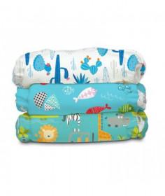 Set 3 Scutece textile Charlie Banana Florida Safari Blue Organic cu inserturi noi de cânepă cu fleece - Mărime Unică