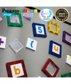 Set PicassoTiles Deluxe Combo Clip-in Extension - 136 piese magnetice de construcție colorate-scutecilaro