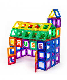 Set Playmags Exclusiv Educațional - 36 Piese Magnetice: 18 Ferestre + 18 Litere Și Cifre